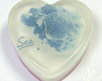 Sea Shell Soap, Sea Soap 3.5 oz, Ocean Soap, Heart soap