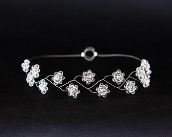18 Flower girl headband, Crystal headband, White flower headband, Silver bridal crystal headband, Girl crystal hair accessories, Bridal hair
