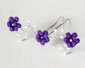 82_Purple Hair piece, Silver hair pin, Hair accessories, Hair pin Flower, Wedding hair, Bobby pin Violet silk flower Pearl jewellery For her