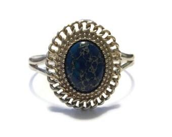 Vintage Silver Blue Sea Sediment Jasper Bracelet