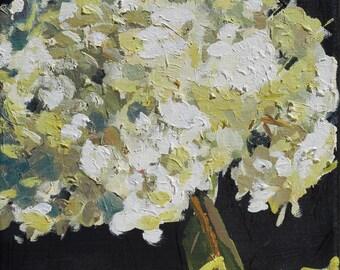 Hydrangea Flower Still Life Painting Original Oil  on canvas 8x8 inch wall art