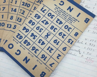 Vintage blue cardboard Bingo Cards - set of 5 - bingo game pieces - wedding bingo - retro bingo