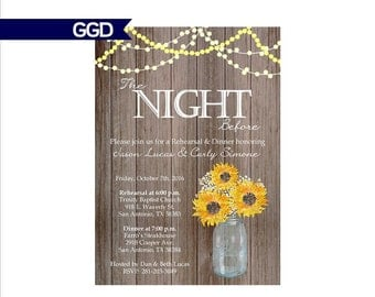 Rustic Wood Rehearsal Dinner Invitation with Sunflowers, rehearsal and dinner invite, wedding rehearsal dinner invitation