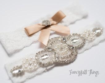 Lace and rhinestone garter set wedding