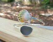 Sunrise shell bracelet,  sea glass bracelet, sea glass jewelry, sunrise shell jewelry