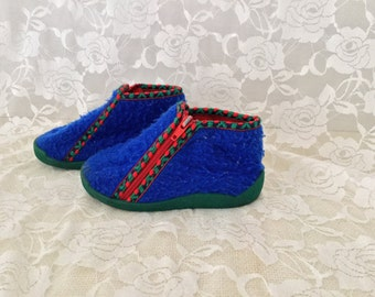 Vintage Royal Blue Fleece Toddler Slippers with side Zipper and Rubber Soles Made in France