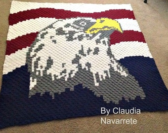 Two Eagle Afghans, C2C Graphs, Crochet Pattern