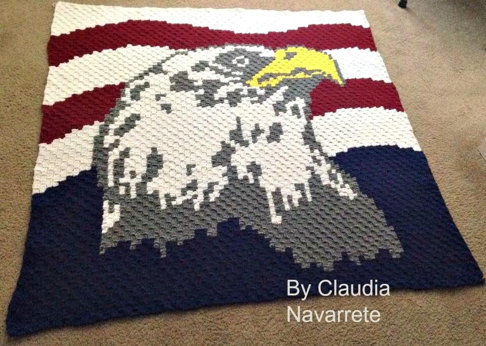 Two Eagle Afghans C2C Graphs Crochet Pattern