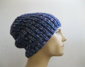 Blue Knit Beanie - Ribbed Beanie - Slouchy Beanie - Beanie Hats - Knitted Slouchy Beanie - Beanies - Knit Beanie Hat - Slouchy Beanie Hat