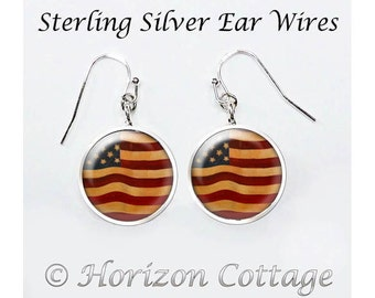 Vintage American Flag Earrings, 4th of July, American Flag Earrings, US Flag Earrings, Patriotic Flag Earrings, Your Choice of Finish