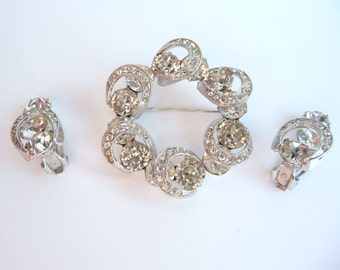 Signed Eisenberg Brooch Pin and Clip On Earrings Demi Parure Clear Rhinestones