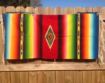 Vintage Rainbow Saltillo Blanket from Mexico