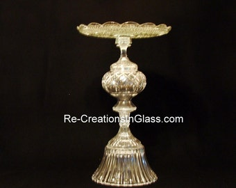 """Wedding decor. Wedding cake or gift table.  Side table.  The """"Amanda"""" is made with upcycled/repurposed glass."""
