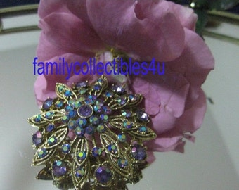 15% Off Sale Sparkly Vintage AB Rhinestone and Gold Tone Flower Brooch