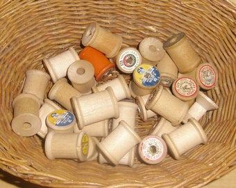 Vintage Wood Spools - 30 Wooden Spools, Thread Spools, Altered Art Supplies, Craft Supplies