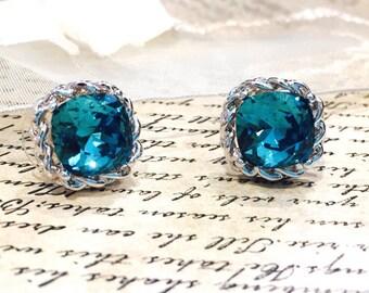 Swarovski blue crystal stud earrings