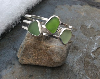 Sea glass jewelry, Bezel set shades of green sea glass bangle bracelet
