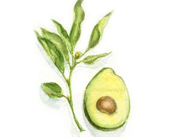 Watercolor Avocado, Avocado Print, Avocado Art, Kitchen Art, Fruit Art, Fruit Print