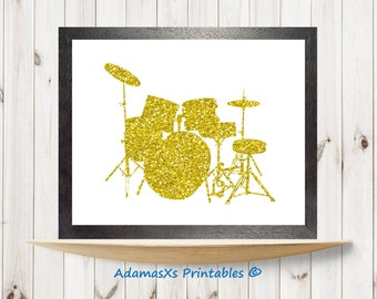 Gold drums printable, Glitter gold print, Music wall art, Drums poster, Gold art print, Music instrument digital art, Glitter art printable