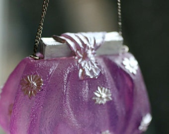 Glass Amethyst Purse, Doll Size Purse, Victorian Purple Glass Purse with Chain Strap, Decorative Purse