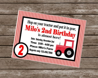 TRACTOR Theme Birthday Party or Baby Shower Invitations Set of 12 {1 Dozen} - Party Packs Available