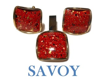 Savoy red cuff links and tie tack set, 1950s, abstract, modernist speckled and spattered enamel
