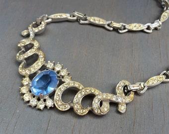 Vintage Rhinestone Bridal Necklace  Ribbon Art Deco Design Sapphire Blue Glass