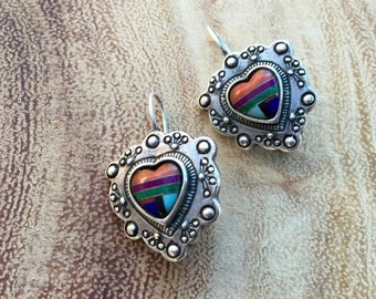 Vintage Heart Earrings Native American Sterling Jewelry Zuni inlay colorful gemstone jewelry