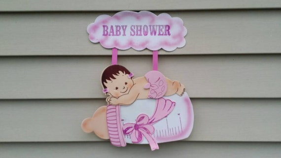 Large 17 girl baby shower door decoration for Baby shower door decoration