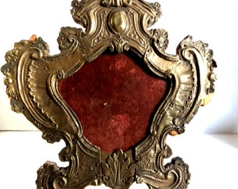 tramp art frame circa 1920s applied fancy metalwork wood red velvet rare art nouveau shape picture frame hand crafted art and collectible