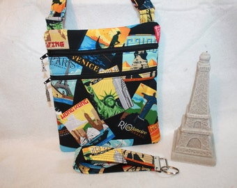 World Traveler Theme Crossbody Handbag w/adj strap