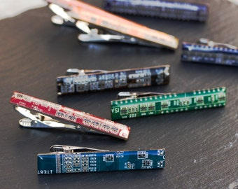 Circuit board Tie bar - geek mens gift, groomsmen tie clips, tie holder, gift for husband, tie bar - palladium plated, resin