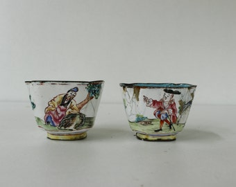 Antique Enamel Cups....Hand Painted......Shabby Chic.