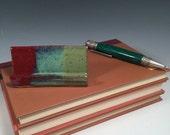 Pottery Business Card Holder - Ready to Ship - Brick Red & Green - desk organization - office organization - ceramics - pottery - stoneware