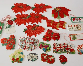 VINTAGE CHRISTMAS Seals Stickers and Gift Tags - All UNUSED - Circa 1930's thru 1960's