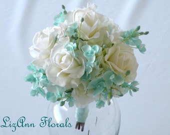 Silk Wedding Bouquet AQUA Orchids, White Real Touch ROSE FLowers, White Hydrangea Wedding Bouquet Boutonniere Roses, Custom Order