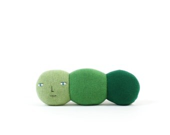 Caterpillar, soft knitted toy, green