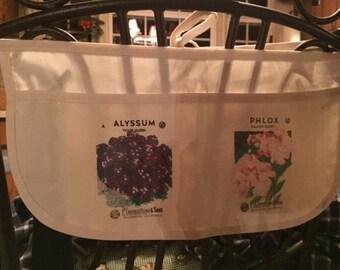 Ladies Carpenter Canvas Apron featuring Vintage Flower Seed Packet Art {Teacher, Vendor, Money, Utility, Half Apron} Phlox & Alyssum