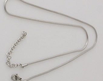 "18"" Stainless Steel Snake Chain Necklace works great with Snap Pendants Charm Silver kb3306 CJ0192"
