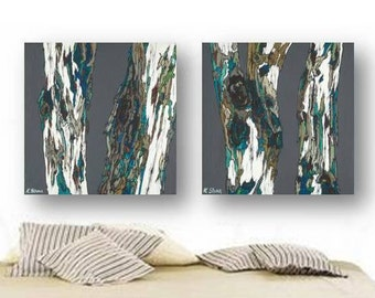 masculine wall art Extra LARGE diptych huge living dining room print set Oversized Diptych Tree trunks decor Teal Gray bedroom rustic modern