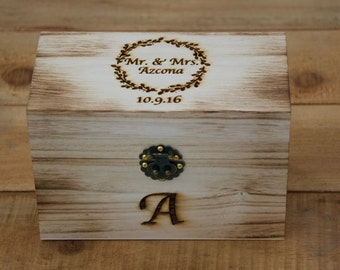 Personalized Rustic Recipe Box -Address Box-Gift Box-Gift for Bride To Be~Wreath Design~