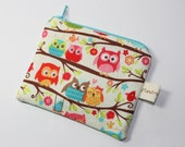 Owl purse, coin purse white with colourful owl print, owls on branches