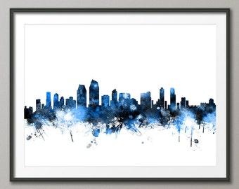 San Diego Skyline, San Diego California Cityscape Art Print (2159)