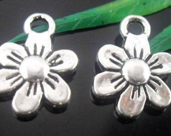 2 Daisy Flower Charm Tibetan Antique Silver U.S Seller 13 x 9 mm - sc077