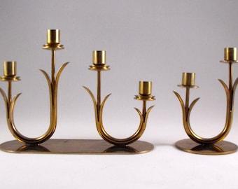 ON SALE!!! 30% Off Original Price!! Vintage Brass Candlesticks Holders Ystad Metall Sweden Mid Century Modern Set
