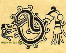 Aztec Feathered Serpent Rubber Stamp