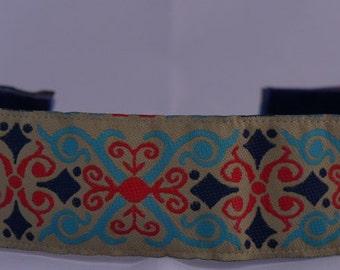 "No Slip Headband Wide 1.5"" Jacquard Red and Blue"