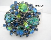 Weiss Blue Brooch Art Glass Cabochon Foiled Pin