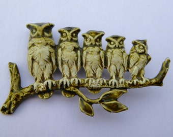 1950s Brooch of 5 Owls Perched on a Branch Vintage Jewelry Costume Jewelry