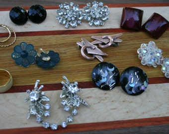 Vintage Costume Jewelry CLIP ON Earrings Lot of Eleven Pairs Lucy Rockabilly Retro Mad Men Mid Century
